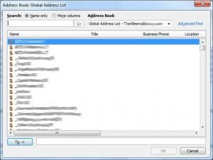 Default Mail Client - Global Address List