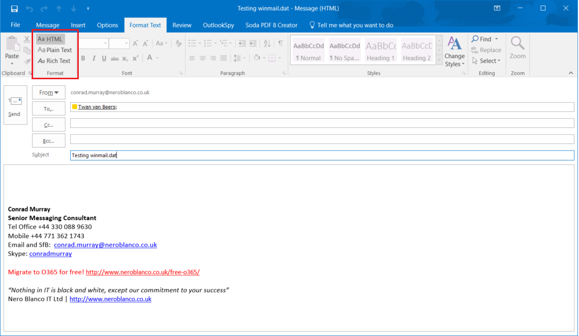 Avoiding and converting winmail.dat Files - Nero Blanco