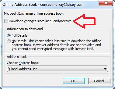 Cannot Offline Address Book Office 365