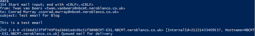 Exchange SMTP DATA