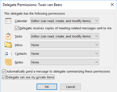 Outlook Delegation Granular