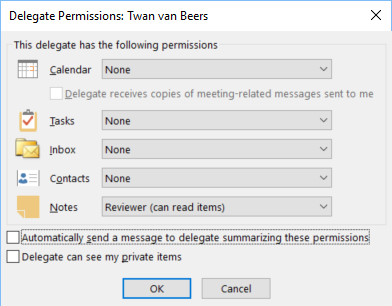 Outlook Personal Mailbox Delegation Wizard - The ins and