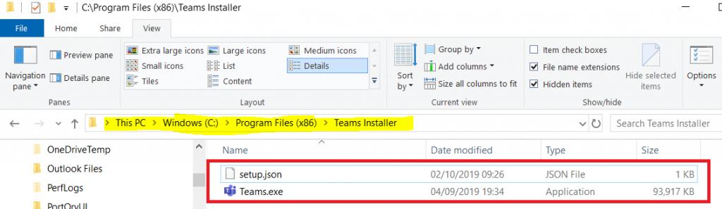 Delete Teams Installer